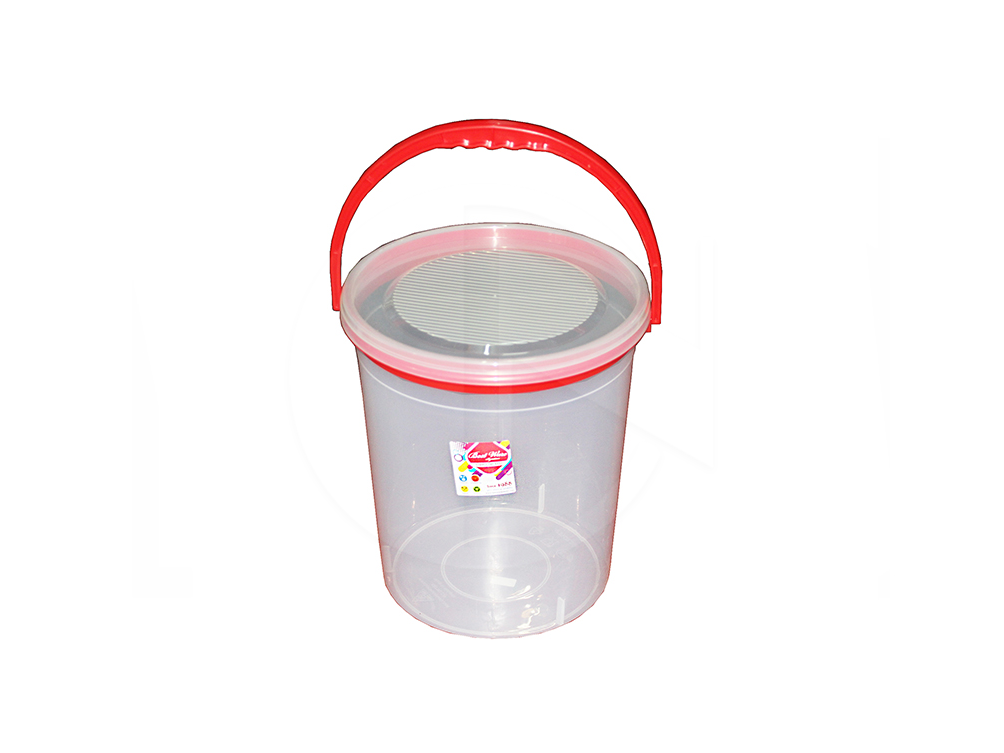 BW-229/R<br>Transparent Round Container W/Handle<br>透明红耳圆罐